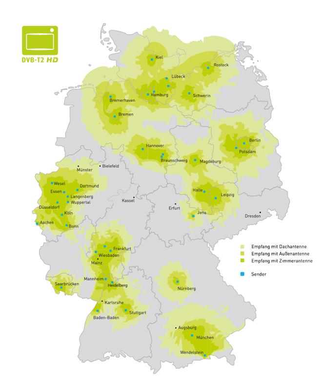 DVB-T2 HD Empfangsregionen in Deutschland