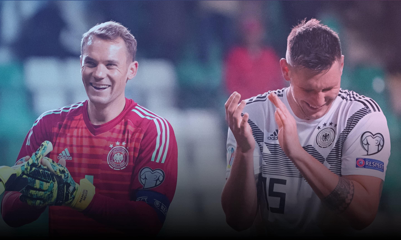 Manuel Neuer links und Niklas Süle bedanken sich bei den Fans