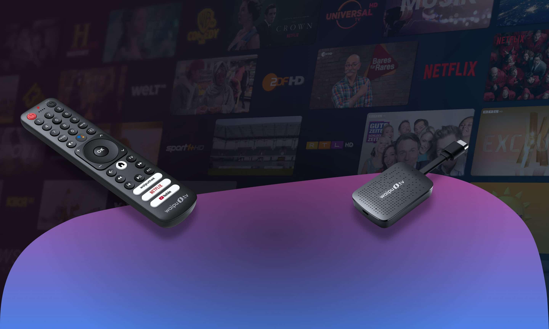 Der waipu.tv 4K Stick mit Fernbedienung